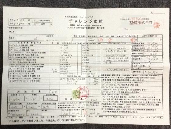 車の車検 領収書