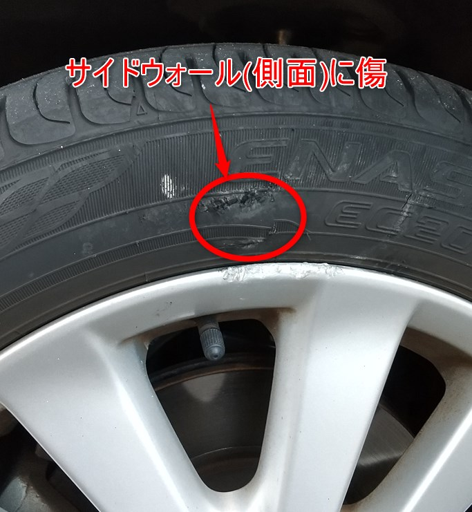タイヤのサイドウォール(側面)に傷